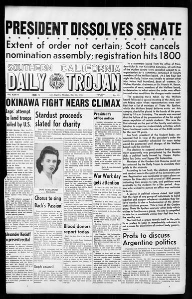 Daily Trojan, Vol. 36, No. 121, May 14, 1945