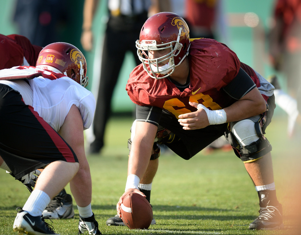 . USC OL Giovanni DiPoalo works the center postion at practice, Thursday, March 27, 2014, at USC. (Photo by Michael Owen Baker/L.A. Daily News)
