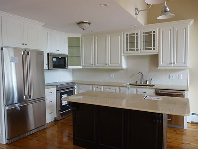Cream Linen White Painted Cabinets with Espresso Island