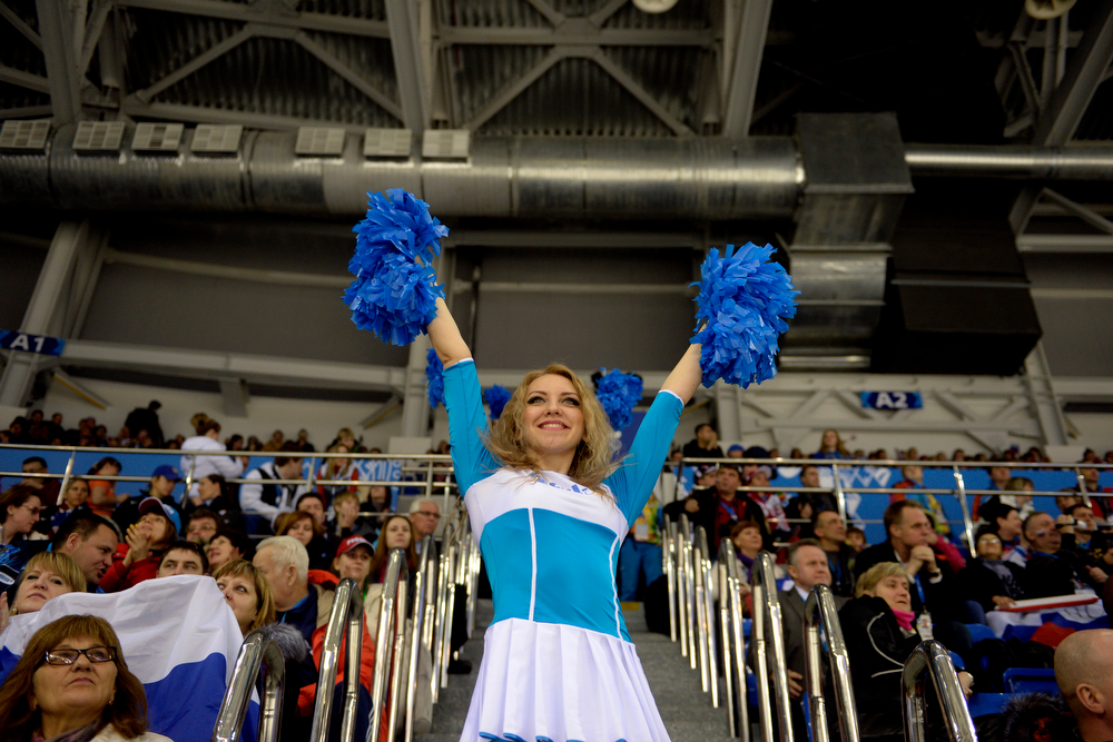 . Cheerleaders hype the crowd during the third period of the United States\' 3-1 women\'s hockey win against Finland. Sochi 2014 Winter Olympics on Saturday, February 8, 2014. (Photo by AAron Ontiveroz/The Denver Post)