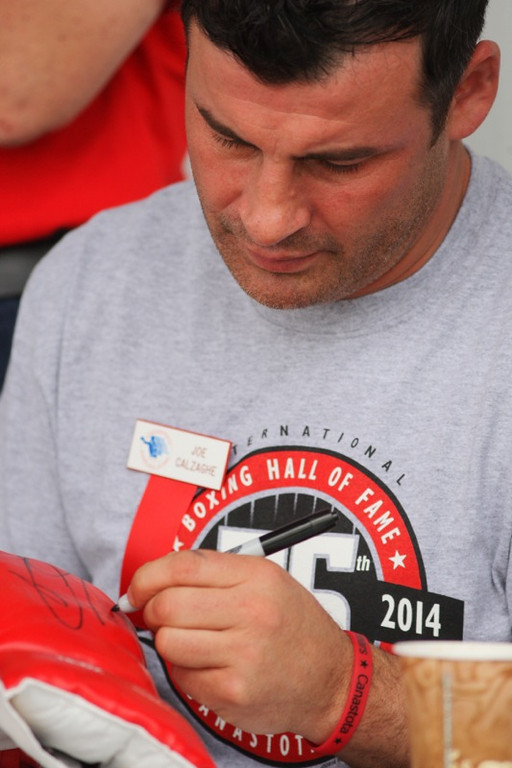 . International Boxing Hall of Fame Class of 2014 inductee Joe Calzaghe signs autographs for fans on the opening day of the 25 the annual Hall of Fame weekend on Thursday, June 5. 2014 in Canastota.JOHN HAEGER-ONEIDA DAILY DISPATCH @ONEIDAPHOTO ON TWITTER