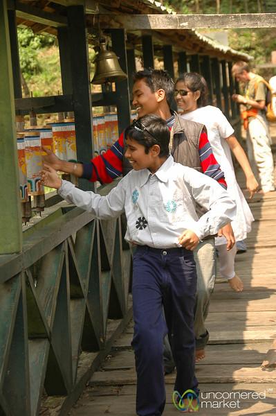 Turning the Prayer Wheels - Lake Khecheopalri, Sikkim