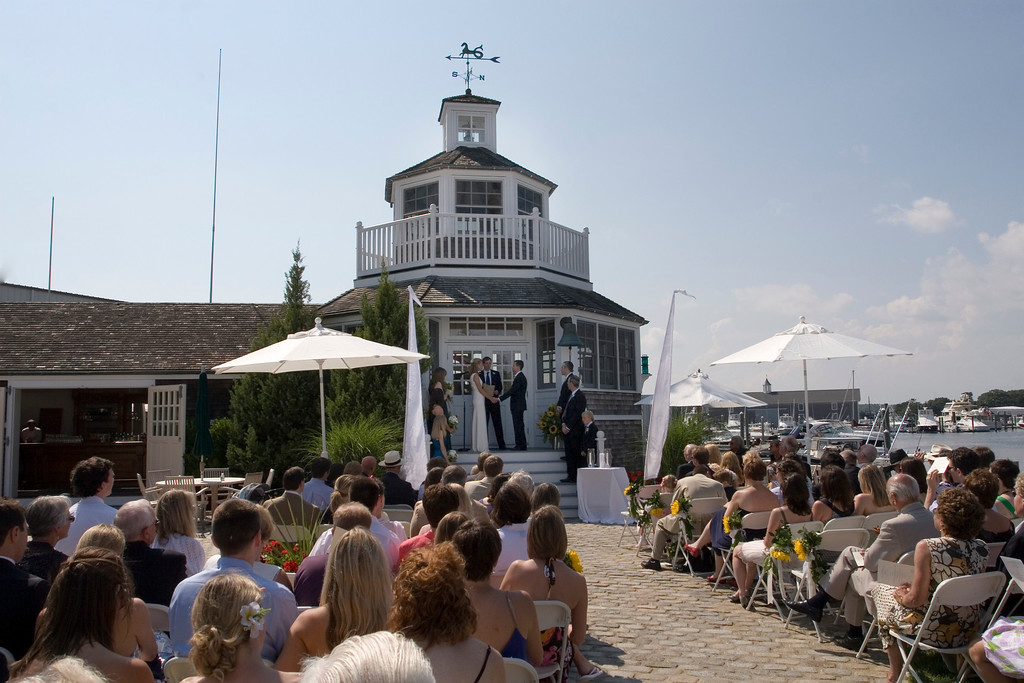 Cape Cod wedding ceremony outside the lighthouse at Nauticus Marina - Nauticus Marina - The Casual Gourmet, Cape Cod Wedding Caterer