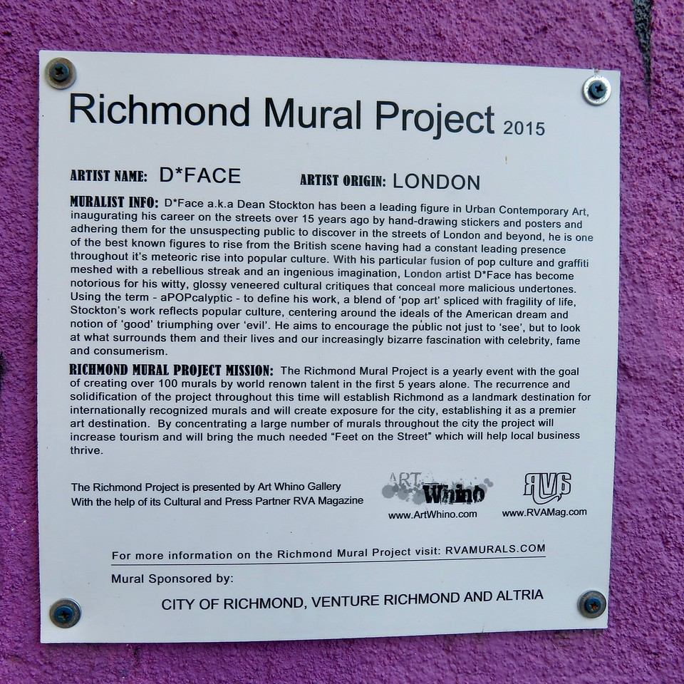 richmond mural project sign at d*face mural