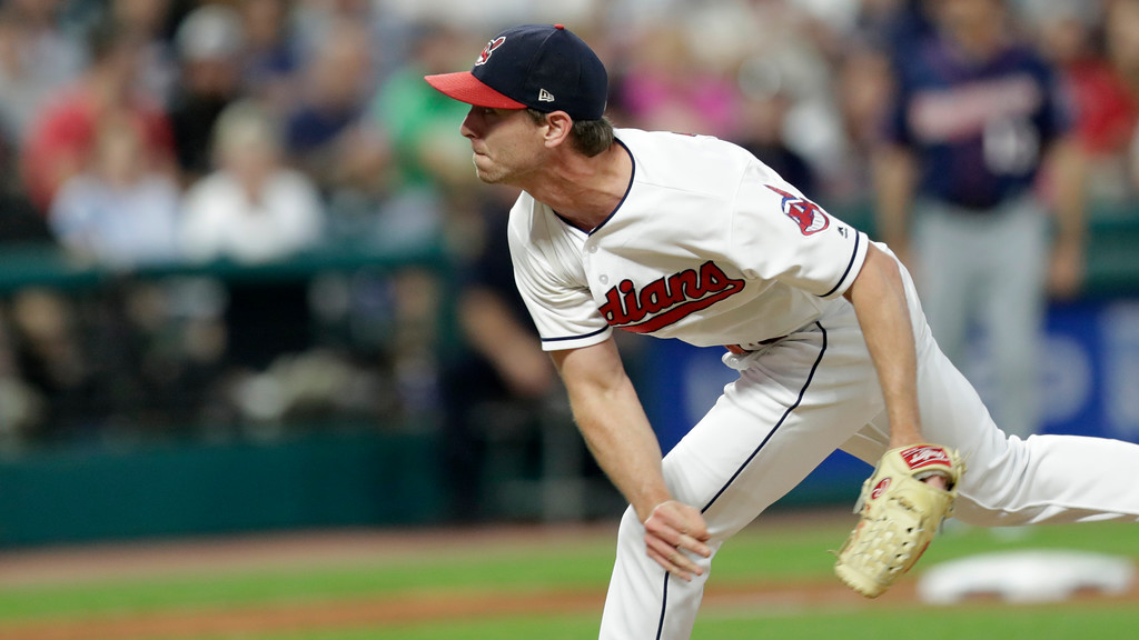 . Cleveland Indians starting pitcher Josh Tomlin delivers in the eight inning of a baseball game against the Minnesota Twins, Friday, June 15, 2018, in Cleveland. (AP Photo/Tony Dejak)