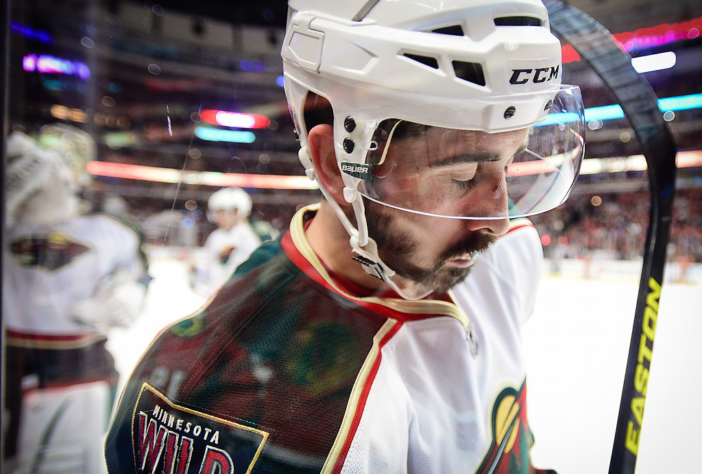 . Minnesota right wing Cal Clutterbuck in the third period. (Pioneer Press: Ben Garvin)