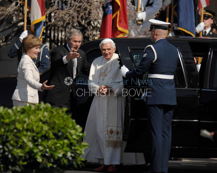 President Bush and The First Lady welcome Pope Benedict XVI to The White House.