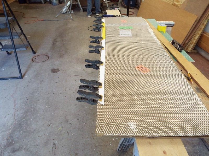 Pattern for front vent laid out on some new material we are trying to use for a grate.