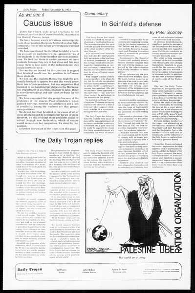 Daily Trojan, Vol. 67, No. 53, December 06, 1974