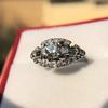 1.18ctw Art Deco Princess Halo Ring 11