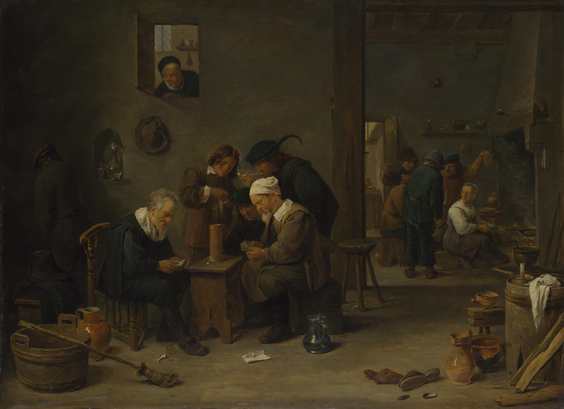 Two Men playing Cards in the Kitchen of an Inn