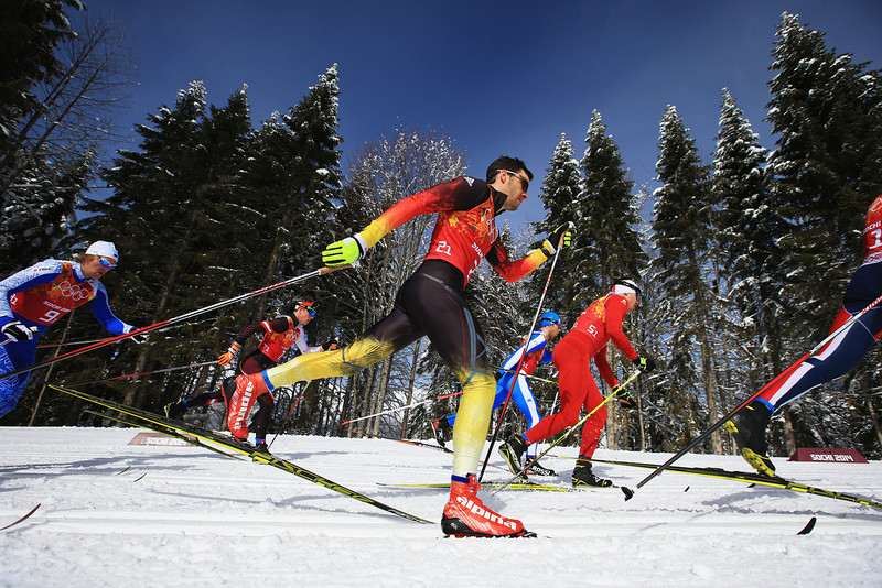 . Hannes Dotzler of Germany competes in the Men\'s Team Sprint Classic Semifinals during day 12 of the 2014 Sochi Winter Olympics at Laura Cross-country Ski & Biathlon Center on February 19, 2014 in Sochi, Russia.  (Photo by Richard Heathcote/Getty Images)