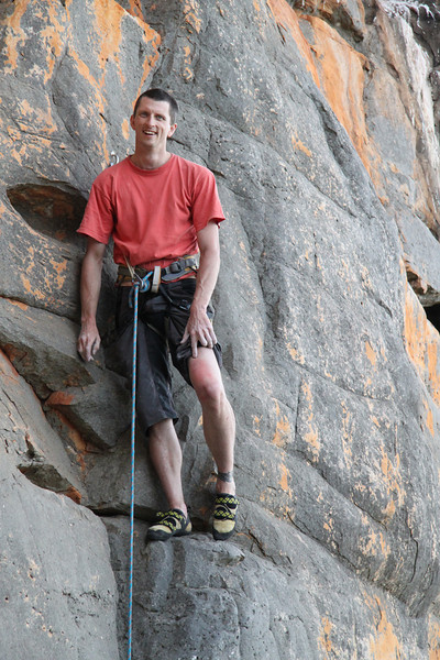 On the first ascent of Goelro 26 - can you see the bruise on my knee from the crux knee bar?