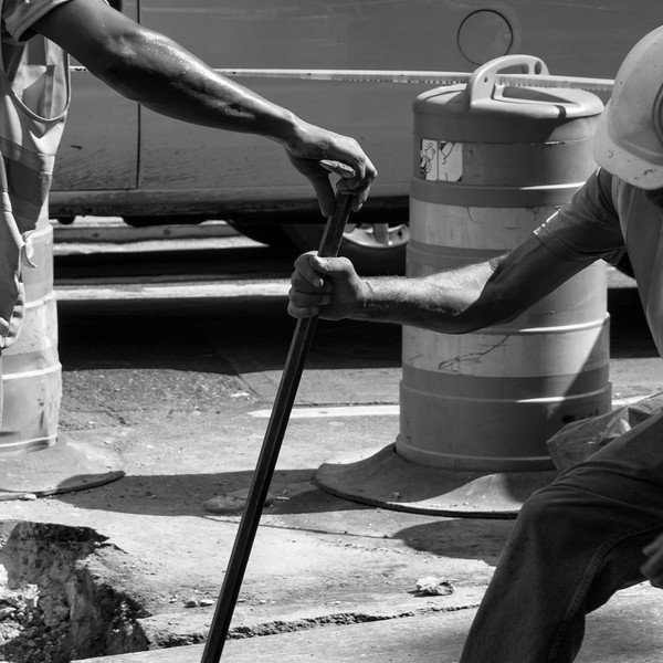 Men at Work - Times Square, New York, NY, USA - August 19, 2015