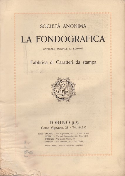 In the 1920s Fondografica in Turin was one of the main Italian realities in the field of type founding.