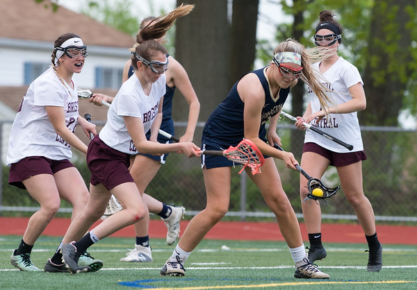 Newington girls lacrosse defeated Bristol Central in an away game at Bristol Central High School on Friday afternoon. Newington's Hanna Drew (10). | Wesley Bunnell | Staff