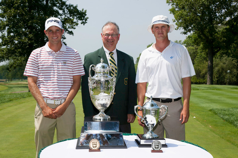 Chris Williams (left) and Jordan Russell with WGA lead rules official at the start of the championship match at the 2012 Western Amateur Championship at Exmoor Country Club in Highland Park, Ill., on Saturday, August 4, 2012. (WGA Photo/Charles Cherney)