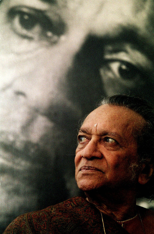 . Ravi Shankar, 78, poses at his home in New Delhi, India in front of a 1969 portrait of himself in this March 6, 1998 photo. Shankar, it was announced Saturday Jan. 30, 1999, will be awarded with India\'s highest civilian honor, the Bharat Ratna. (AP Photo/John McConnico)
