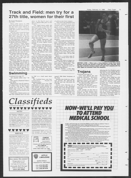 Daily Trojan, Vol. 100, No. 26, February 14, 1986