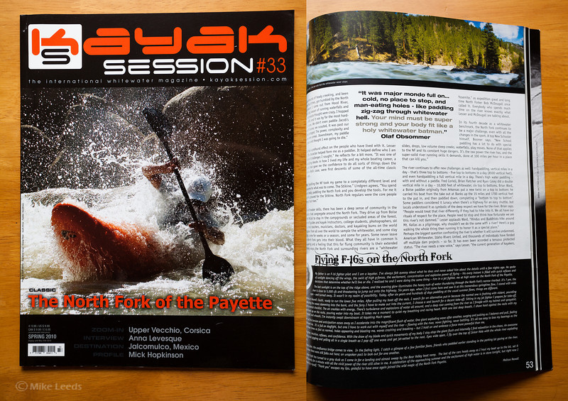 Kayak Session Magazine Issue #33 Spring 2010 (photo upper right) Screaming Left Turn Rapid on the North Fork Payette River in Idaho.