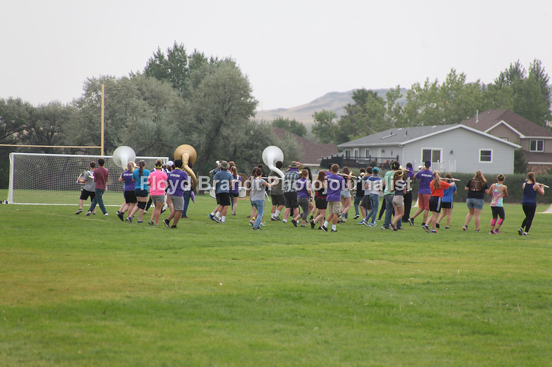 Havre Daily News/Floyd Brandt   Under new direction Havre High School Band practice for the up coming sports season Thursday.
