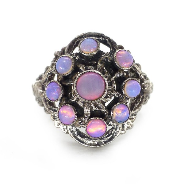 ANTIQUE SILVER AUSTRO HUNGARIAN PINK OPALINE GLASS CABOCHON RING