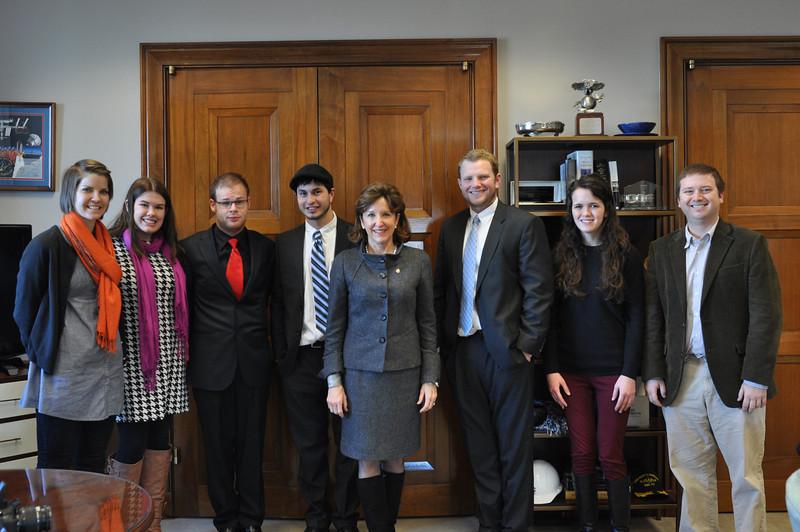 Jessica Hibbard, Allison Drenan, Nick Berryhill, Bradley Bilsback, NC Senator Kay Hagan, Tyler Sain, Ashley Harris & Dr. Ben Gaskins
