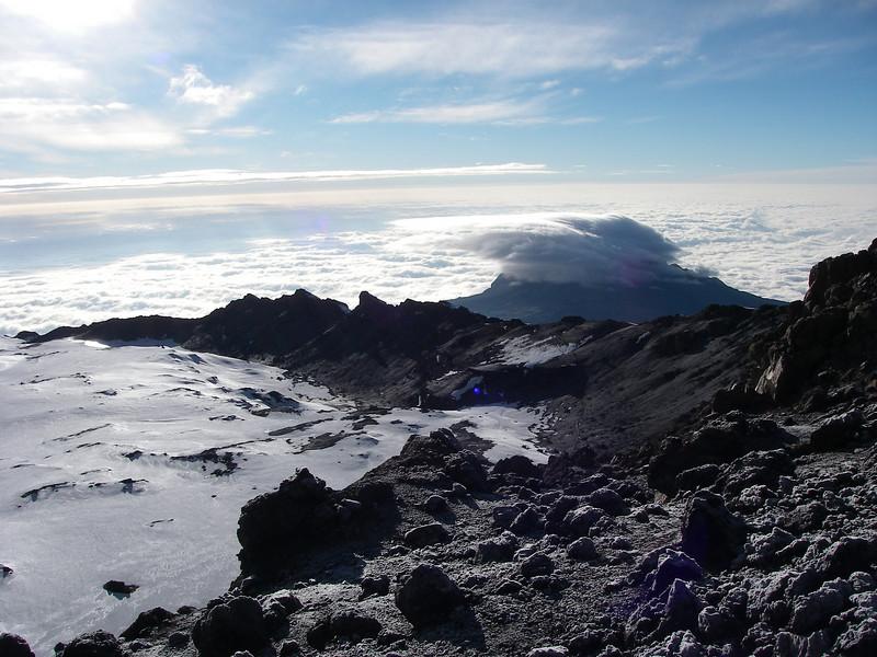 Down towards east - Mawenzi in cloud