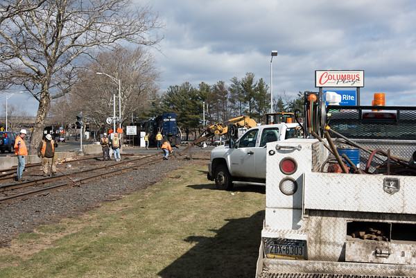 04/05/18 Wesley Bunnell   Staff Pan-Am crews are on the scene of a train derailment on Thursday morning in front of Columbus Plaza assessing and making repairs to the tracks. The site was also the scene of a derailment in 2016.