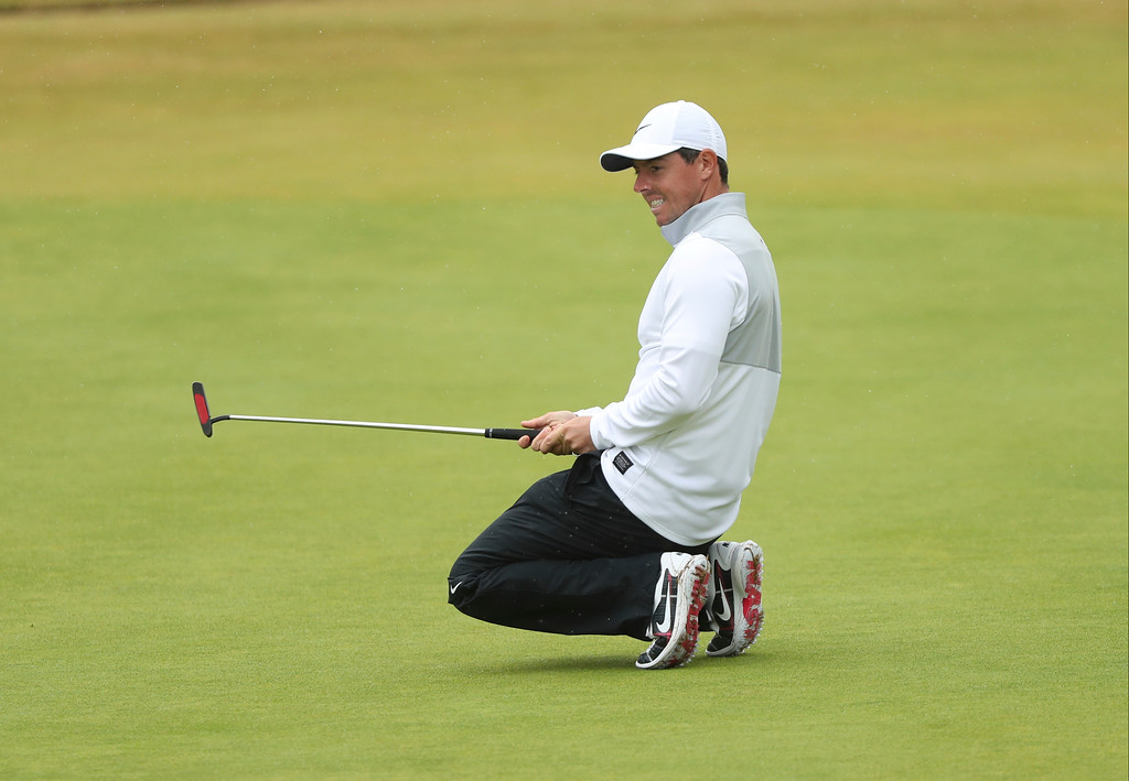 . Rory McIlroy of Northern Ireland reacts after missing a birdie putt on the 18th green during the second round of the British Open Golf Championship in Carnoustie, Scotland, Friday July 20, 2018. (AP Photo/Peter Morrison)