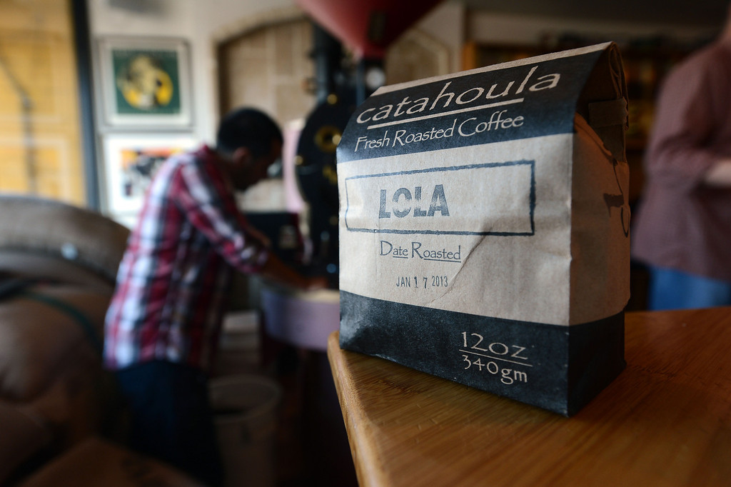 . A bag of Lola blend coffee is ready for sale at the Catahoula Coffee Company in Richmond, Calif. on Thursday, Jan. 17, 2013. (Kristopher Skinner/Staff)