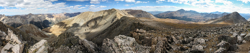 Summit Panorama from 14,067' Missouri Mountain