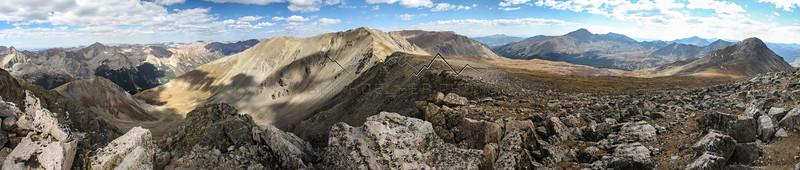 Summit Panorama from 14,067' Missouri Mountain