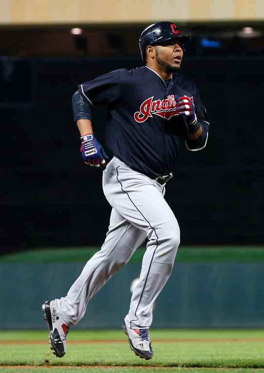 . Cleveland Indians\' Edwin Encarnacion jogs the bases on a two-run home run off Minnesota Twins relief pitcher Michael Tonkin during the ninth inning of a baseball game Tuesday, April 18, 2017, in Minneapolis. The Indians won 11-4. (AP Photo/Jim Mone)