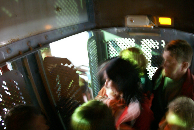 Only a few days removed from Auschwitz, we were brought back to the surface in really small elevator cars.  It was eerie.
