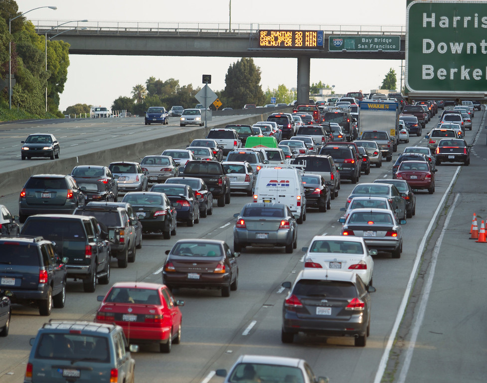 . Traffic backs up on westbound Interstate Highway 580 near Grand Avenue, as BART commuters scrambled to find alternative routes to San Francisco on the first day of a strike by workers of the mass transit system, Monday, July 1, 2013 in Oakland, Calif. (D. Ross Cameron/Bay Area News Group)