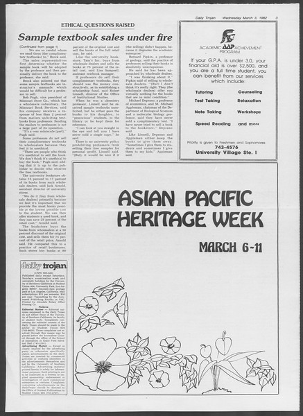 Daily Trojan, Vol. 91, No. 34, March 03, 1982