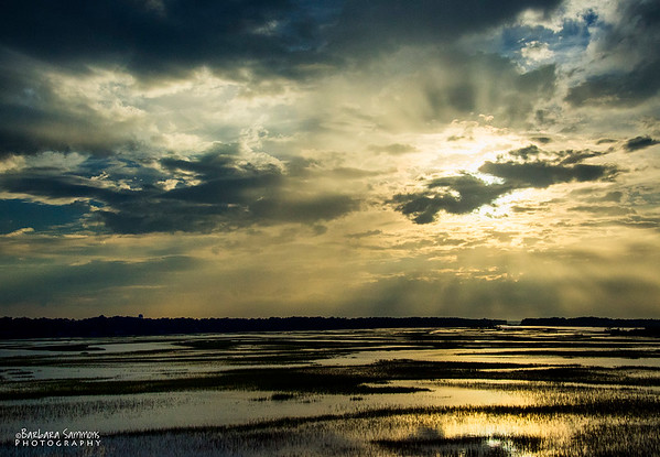 Sunset over Marshes of Oak Island, Oak Island, NC - Catalog #2043