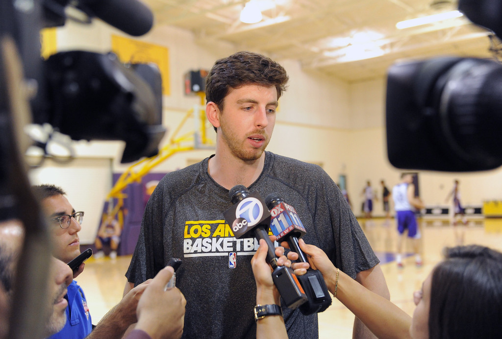 . Ryan Kelly. Laker\'s practice and media meet up with draft pick Ryan Kelly and latest signee Robert Sacre.   Photo by Brad Graverson 7-10-13