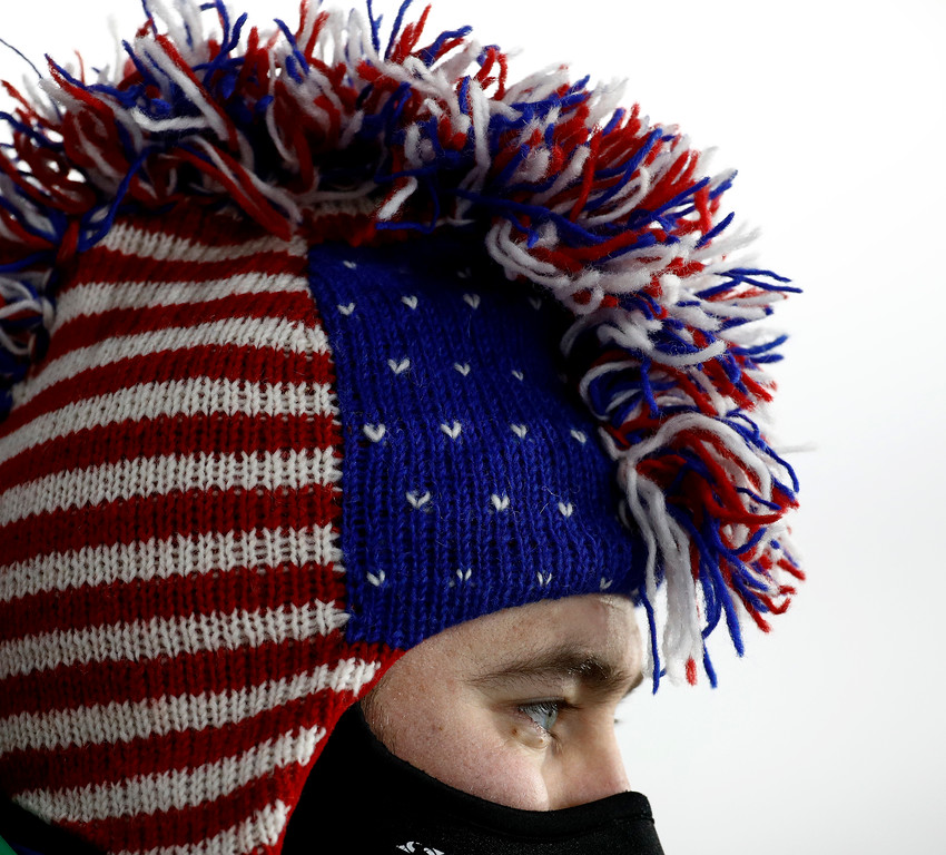 . A United States fan watches the men\'s 12.5-kilometer biathlon pursuit at the 2018 Winter Olympics in Pyeongchang, South Korea, Monday, Feb. 12, 2018. (AP Photo/Charlie Riedel)