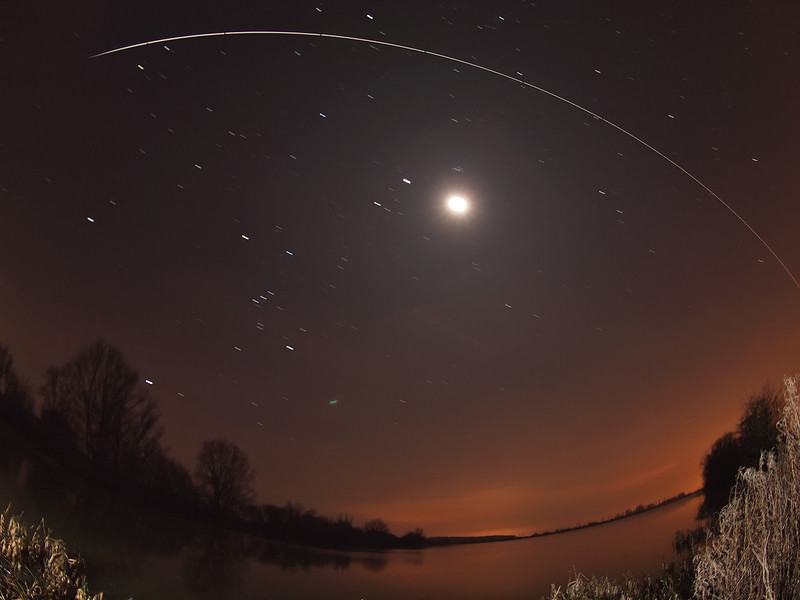 ISS flies over the moon
