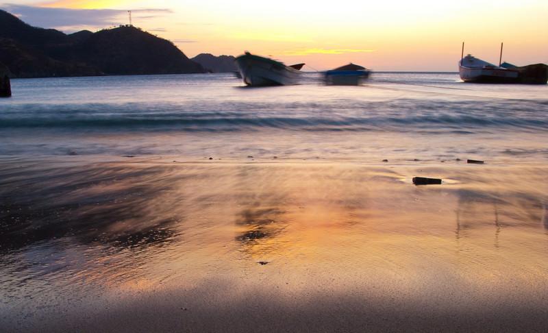 long exposure sunset, taganga