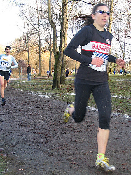 2005 Canadian XC Championships - Cheryl still leading a more serious-looking Lucy