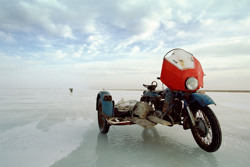 Motorbike on frozen lake