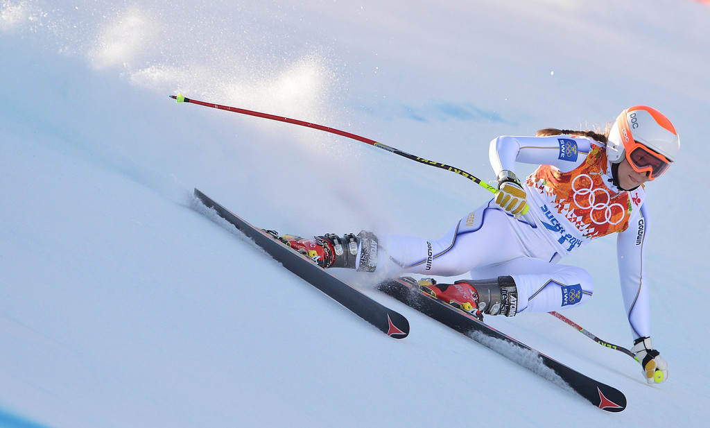 . Sara Hector of Sweden in action during the Women\'s Downhill race at the Rosa Khutor Alpine Center during the Sochi 2014 Olympic Games, Krasnaya Polyana, Russia, 12 February 2014.  EPA/JUSTIN LANE
