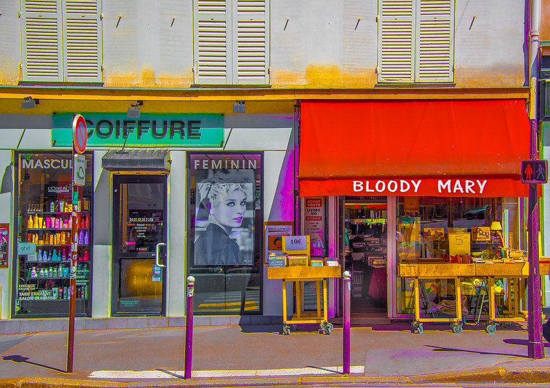 Just printed 'Bloody Mary,' Paris 2017. Bookstore and coiffure. #paris #streetphotography #cityscapes #fineartphotography #bloodymary #tgif #colormeparis #juxtaposition #myversion