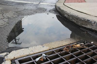 Standing Water, Rain Water, Pine St, East Broad St, Tamaqua (8-22-2013)