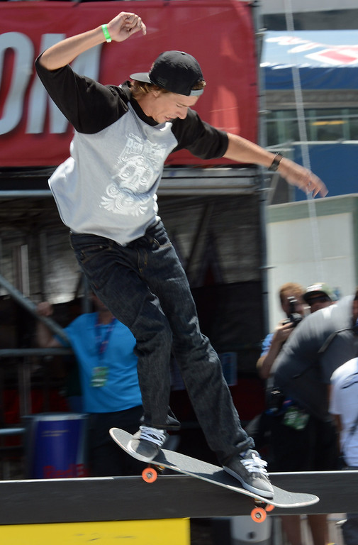 . Ryan Decenzo competes during his first place performance in the  X Games Los Angeles SLS Select Series event at LA Live Thursday, August 1, 2013. (Hans Gutknecht/Los Angeles Daily News)