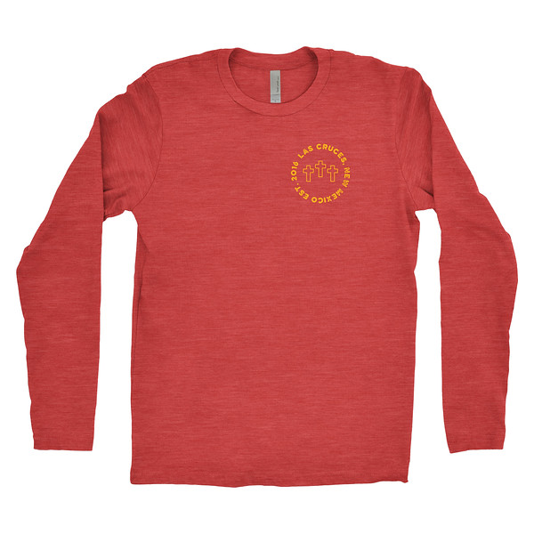 Organ Mountain Outfitters - Outdoor Apparel - Mens T-Shirt - Las Cruces Farmers Market Long Sleeve Tee - Vintage Red Front.jpg