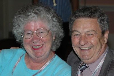 Marge Bluze and Leo Cloutier CSM catch up during Welcome Reception.